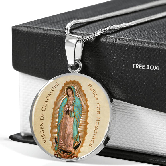 Our Lady of Guadalupe (Virgen de Guadalupe) Circle Pendant Luxury Necklace