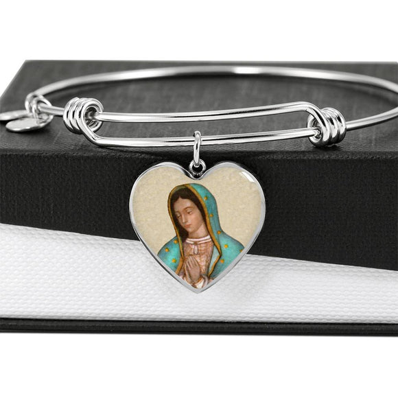 Our Lady of Guadalupe (Virgen de Guadalupe) Heart Adjustable Luxury Bangle