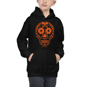 Calavera (Sugar Skull) Orange Kids Hoodie