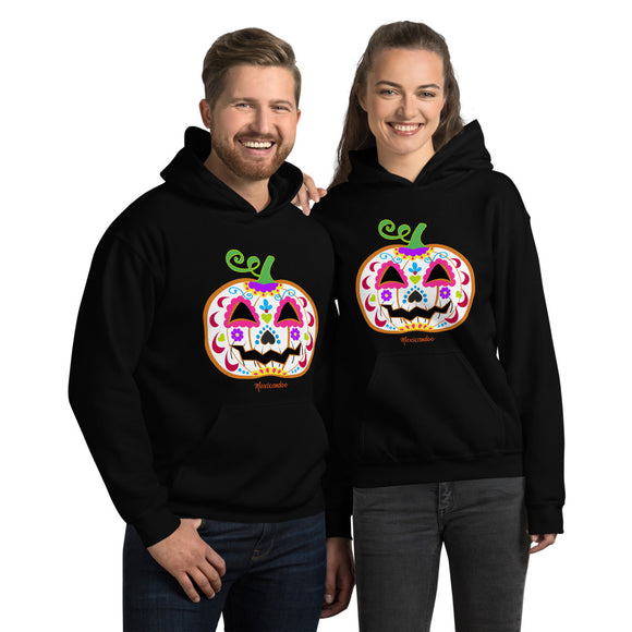 Day of the Dead (Dia de Muertos) Sugar Skull Halloween Pumpkin Unisex Hoodie