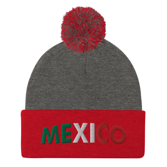 Mexico Embroidered Pom-Pom Beanie