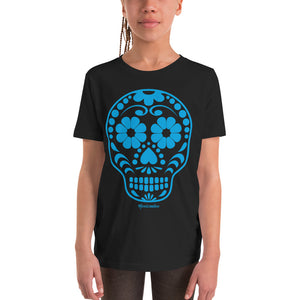 Calavera (Sugar Skull) Blue Youth Short Sleeve T-Shirt