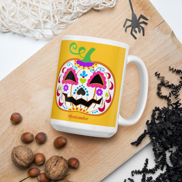 Day of the Dead (Dia de Muertos) Sugar Skull Halloween Pumpkin Mug