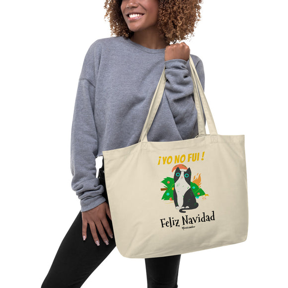 Funny Naughty Cat Christmas Navidad Large organic tote bag