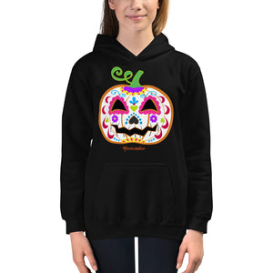 Day of the Dead (Dia de Muertos) Sugar Skull Halloween Pumpkin Kids Hoodie