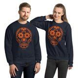 Calavera (Sugar Skull) Orange Unisex Sweatshirt