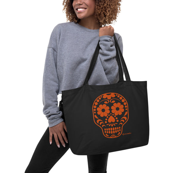 Calavera (Sugar Skull) Orange Large Organic Cotton Tote Bag