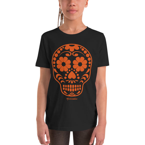 Calavera (Sugar Skull) Orange Youth Short Sleeve T-Shirt