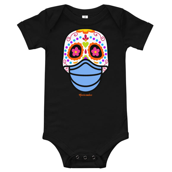 Day of the Dead (Dia Muertos) Sugar Skull with Face Mask Halloween 2020 Bodysuit (Onesie) 100% Cotton