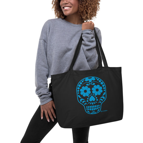 Calavera (Sugar Skull) Blue Large Organic Cotton Tote Bag
