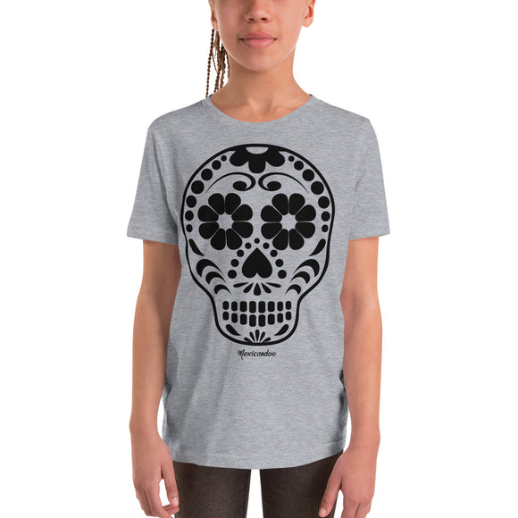 Calavera (Sugar Skull) Black Youth Short Sleeve T-Shirt