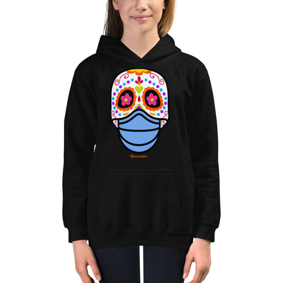 Day of the Dead (Dia Muertos) Sugar Skull with Face Mask Halloween 2020 Kids Hoodie