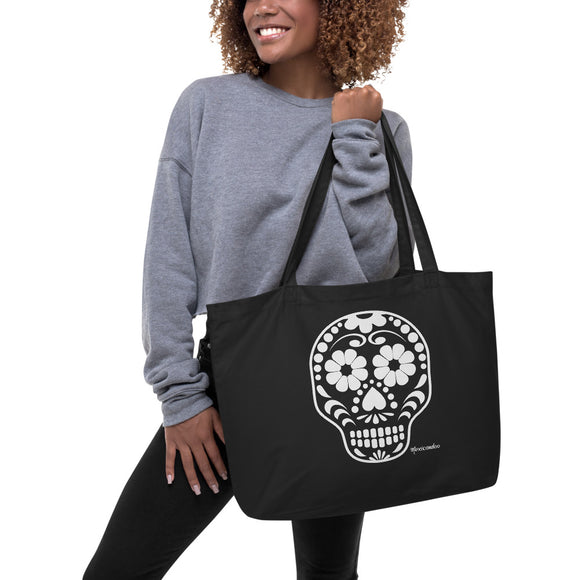 Calavera (Sugar Skull) White/Black Large Organic Cotton Tote Bag