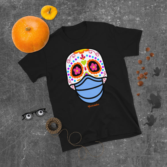 Day of the Dead (Dia Muertos) Sugar Skull with Face Mask Halloween 2020 Short-Sleeve Unisex T-Shirt