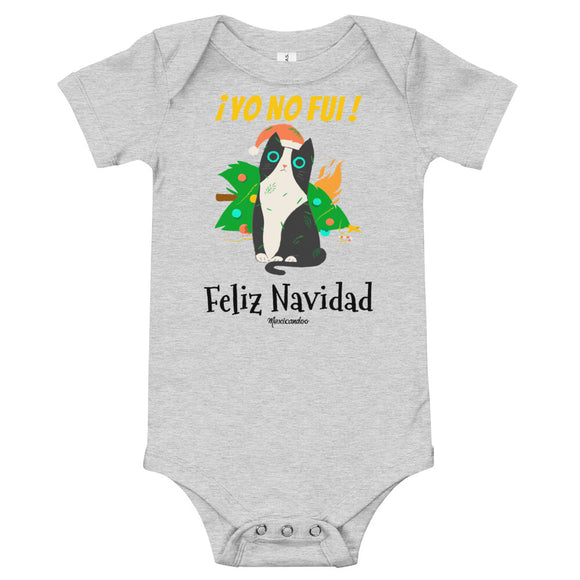 Funny Naughty Cat Christmas Navidad Baby Bodysuit 100% Cotton