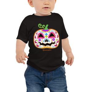 Day of the Dead (Dia de Muertos) Sugar Skull Halloween Pumpkin Baby Jersey Short Sleeve Tee