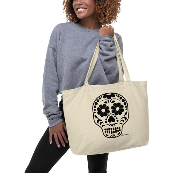 Calavera (Sugar Skull) Large Organic Cotton Tote Bag