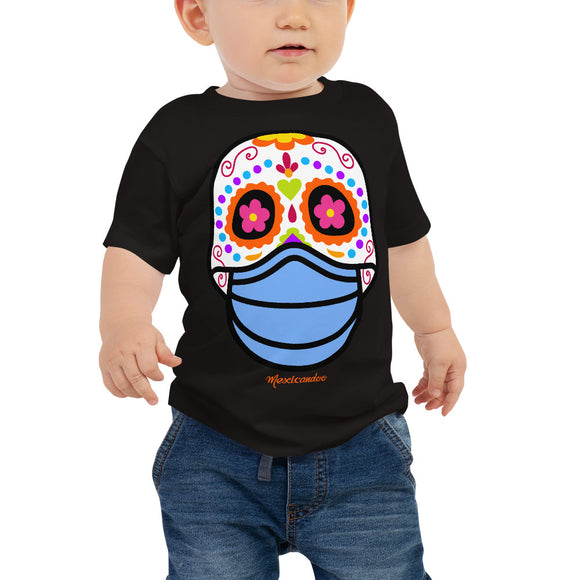 Day of the Dead (Dia Muertos) Sugar Skull with Face Mask Halloween 2020 Baby Jersey Short Sleeve Tee