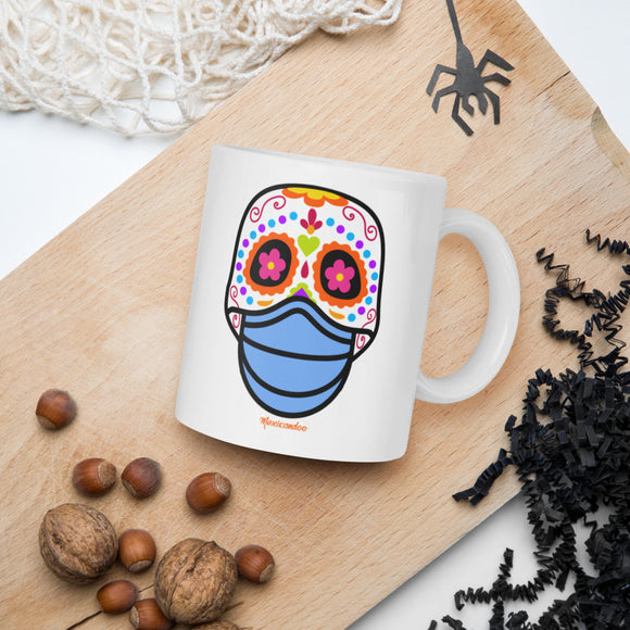 Day of the Dead (Dia Muertos) Sugar Skull with Face Mask Halloween 2020 Mug