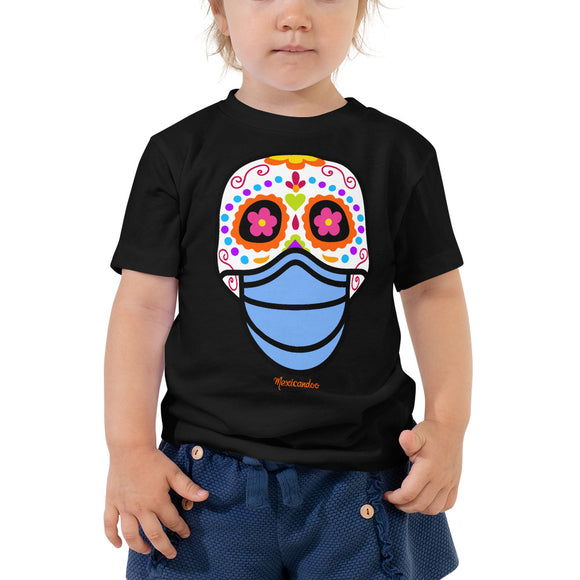 Day of the Dead (Dia Muertos) Sugar Skull with Face Mask Halloween 2020 Toddler Short Sleeve Tee