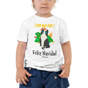 Funny Naughty Cat Christmas Navidad Toddler Short Sleeve Tee