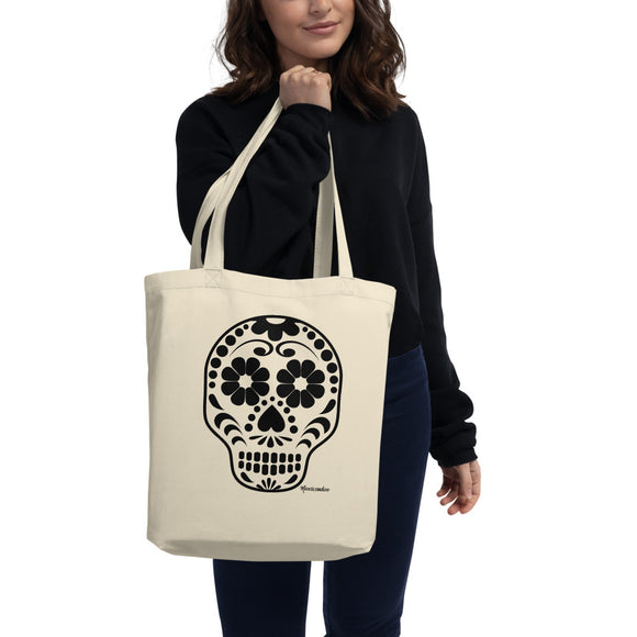 Calavera (Sugar Skull) Eco-Friendly Organic Cotton Tote Bag
