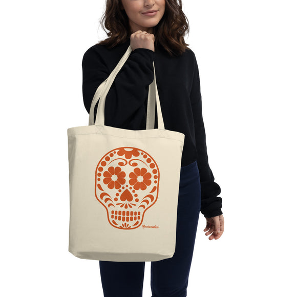 Calavera (Sugar Skull) Orange Eco-Friendly Organic Cotton Tote Bag