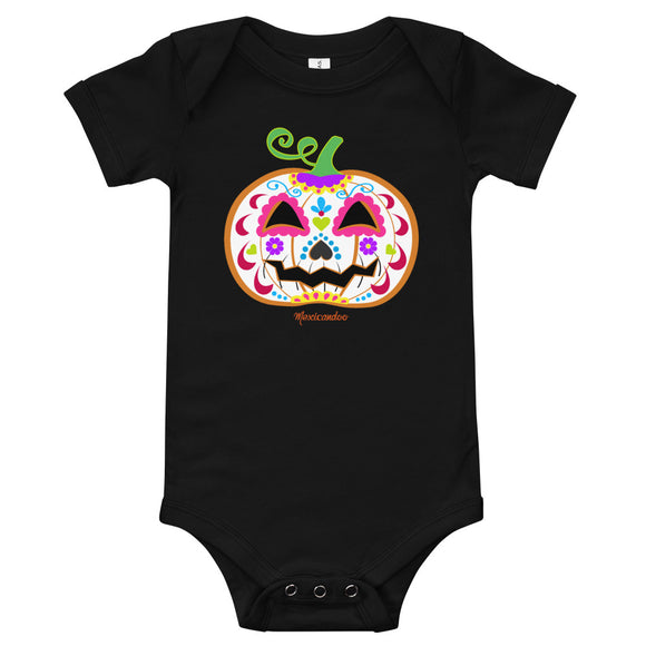 Day of the Dead (Dia de Muertos) Sugar Skull Halloween Pumpkin Bodysuit (Onesie) 100% Cotton
