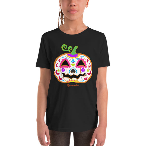 Day of the Dead (Dia de Muertos) Sugar Skull Halloween Pumpkin Youth Short Sleeve T-Shirt