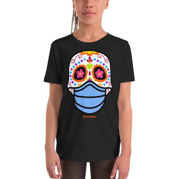 Day of the Dead (Dia Muertos) Sugar Skull with Face Mask Halloween 2020 Youth Short Sleeve T-Shirt
