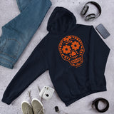 Calavera (Sugar Skull) Orange Hooded Sweatshirt
