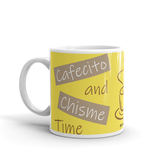 Cafecito and Chisme Time Yellow Mug
