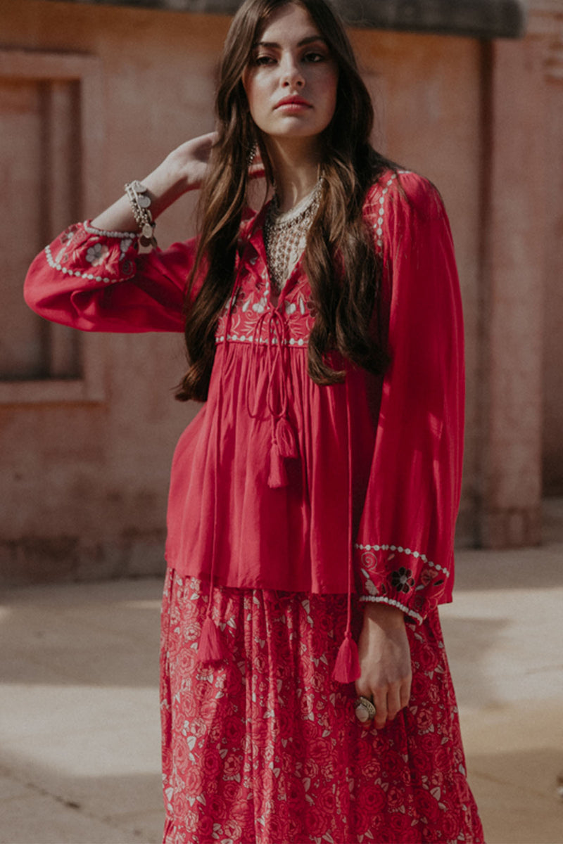 Rehanna Blouse - Rose - The Bohemian Corner