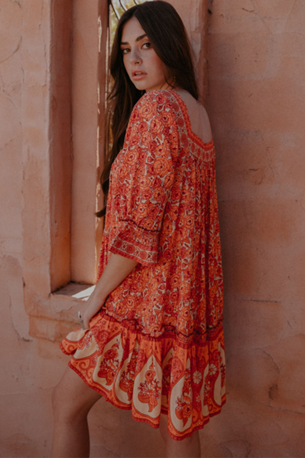 Festival of Roses Mini Dress - Spice - The Bohemian Corner
