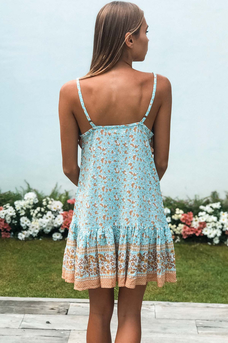 Free To Be Me Mini Dress - Baby Blue - The Bohemian Corner