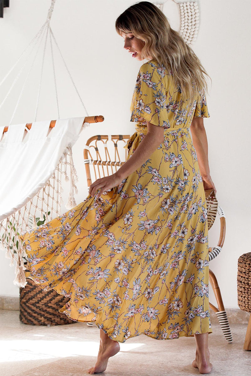 Bonita Wrap Dress - Yellow Floral - The Bohemian Corner