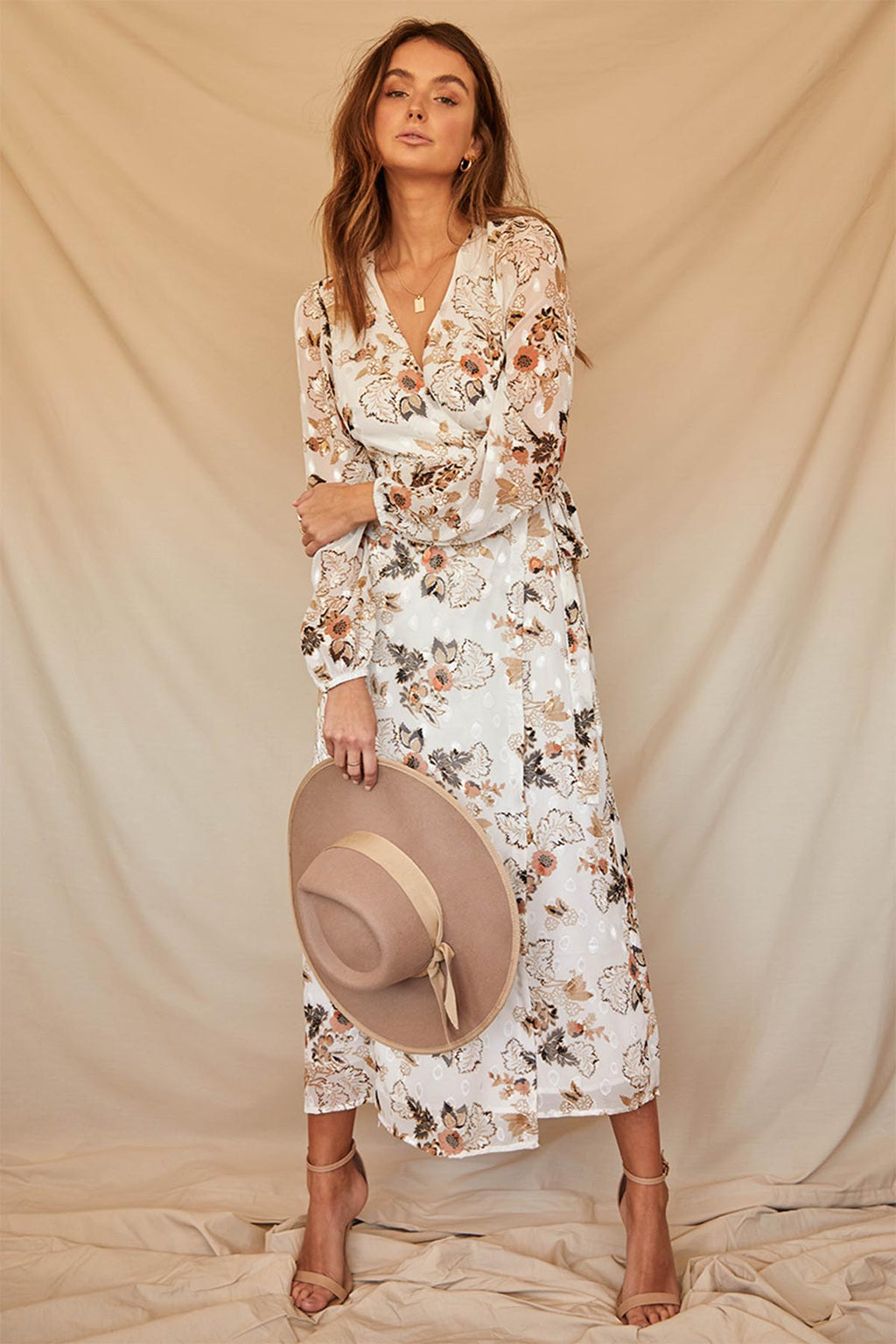 Halenne Floral Maxi Dress - White - The Bohemian Corner