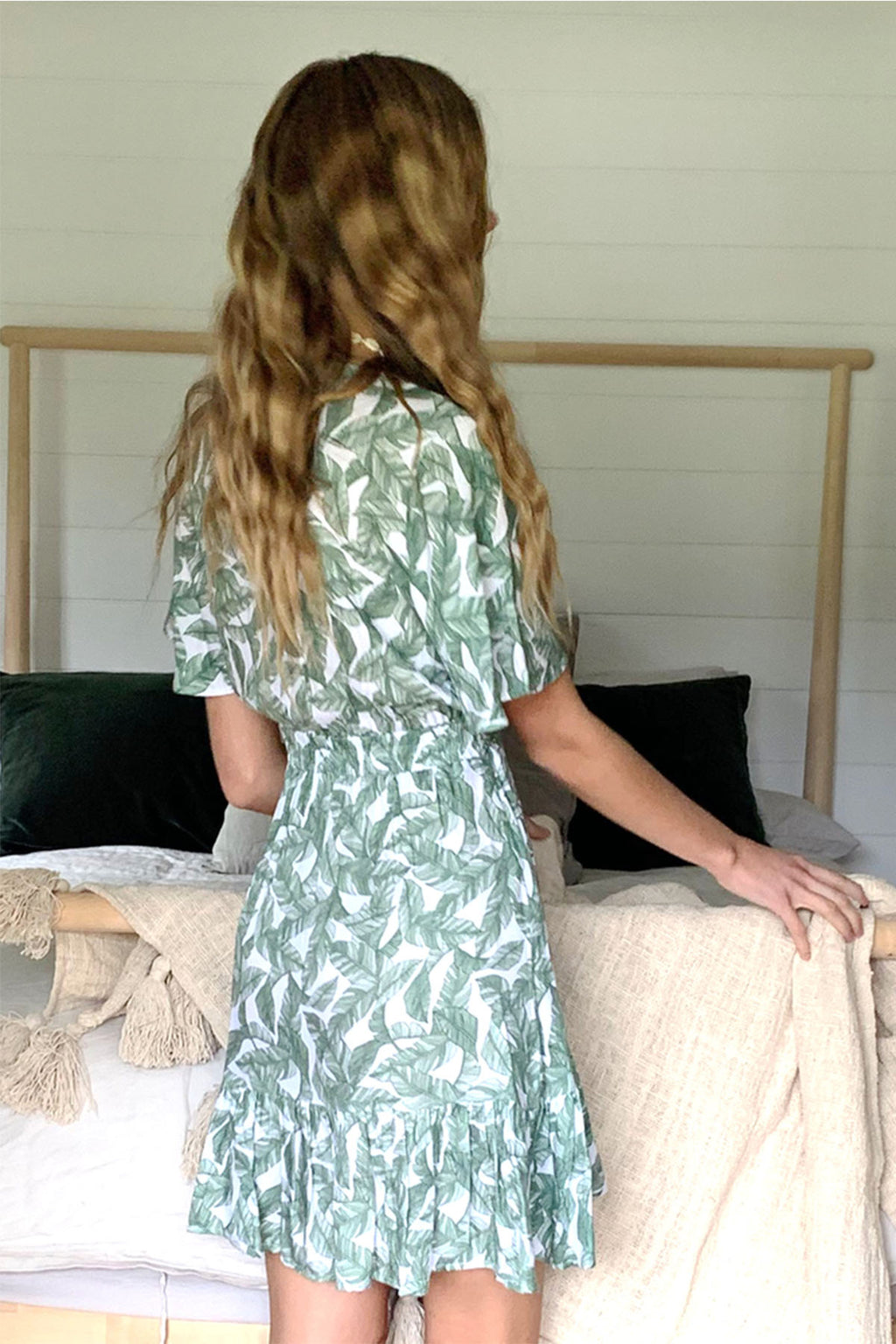 Picnic Mini Dress - Green Leaf - The Bohemian Corner
