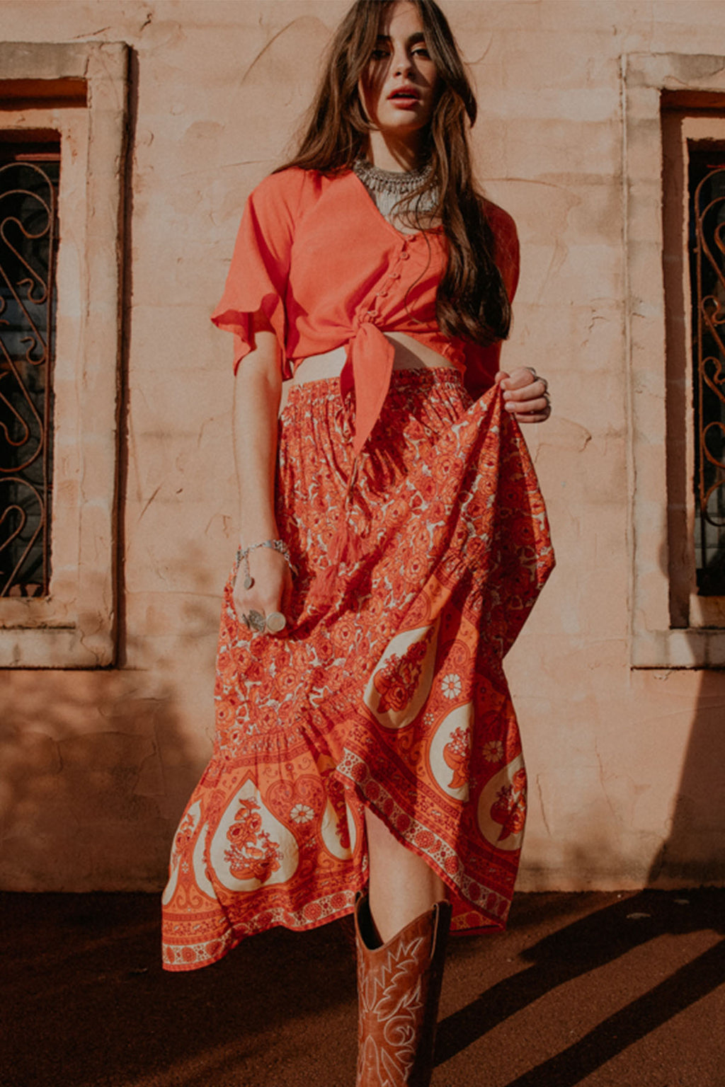 Festival of Roses Skirt - Moroccan Spice - The Bohemian Corner