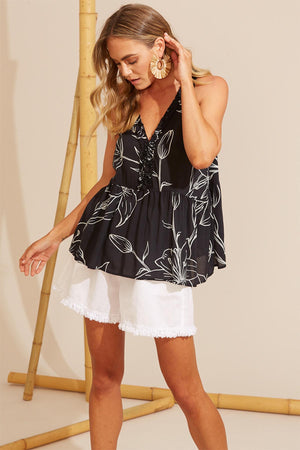 Algarve Frill Top - Ink Lily - The Bohemian Corner