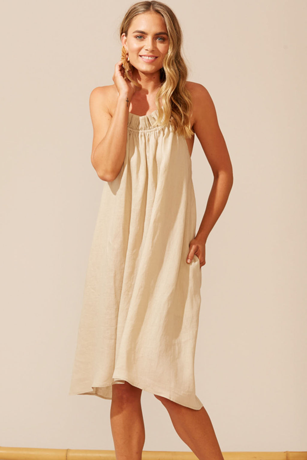 Martinique Frill Dress - Sand - The Bohemian Corner