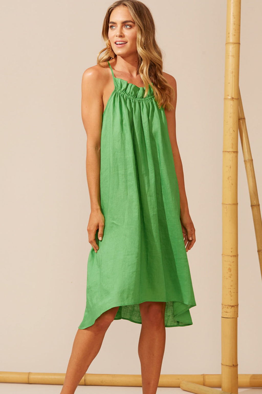 Martinique Frill Dress - Jade - The Bohemian Corner
