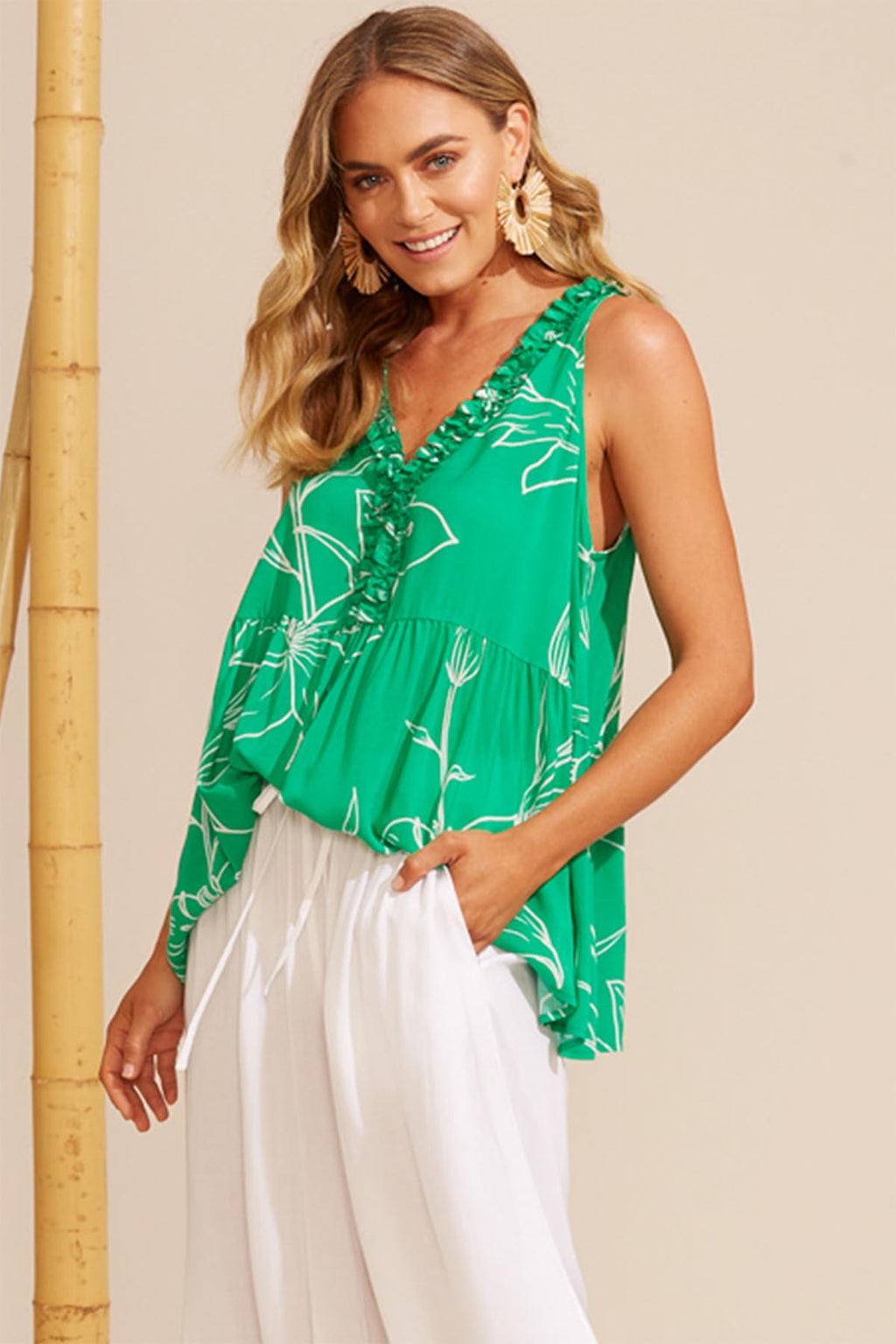 Algarve Frill Top - Jade Lily - The Bohemian Corner