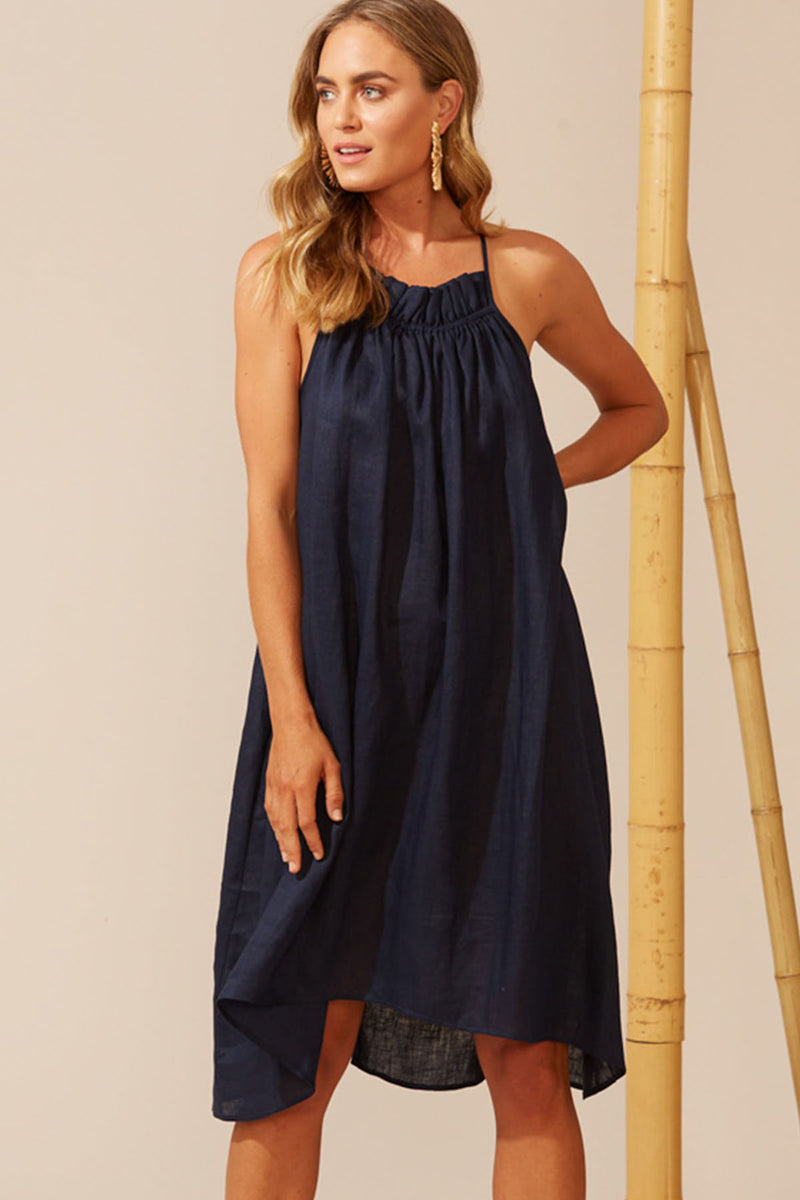 Martinique Frill Dress - Navy - The Bohemian Corner