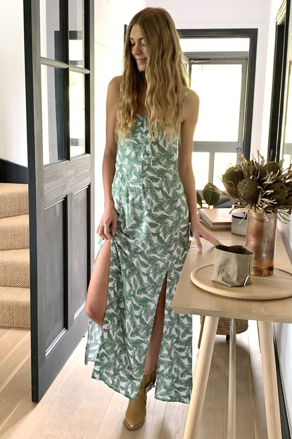 Summertime Strappy Maxi Dress - Green Leaf - The Bohemian Corner