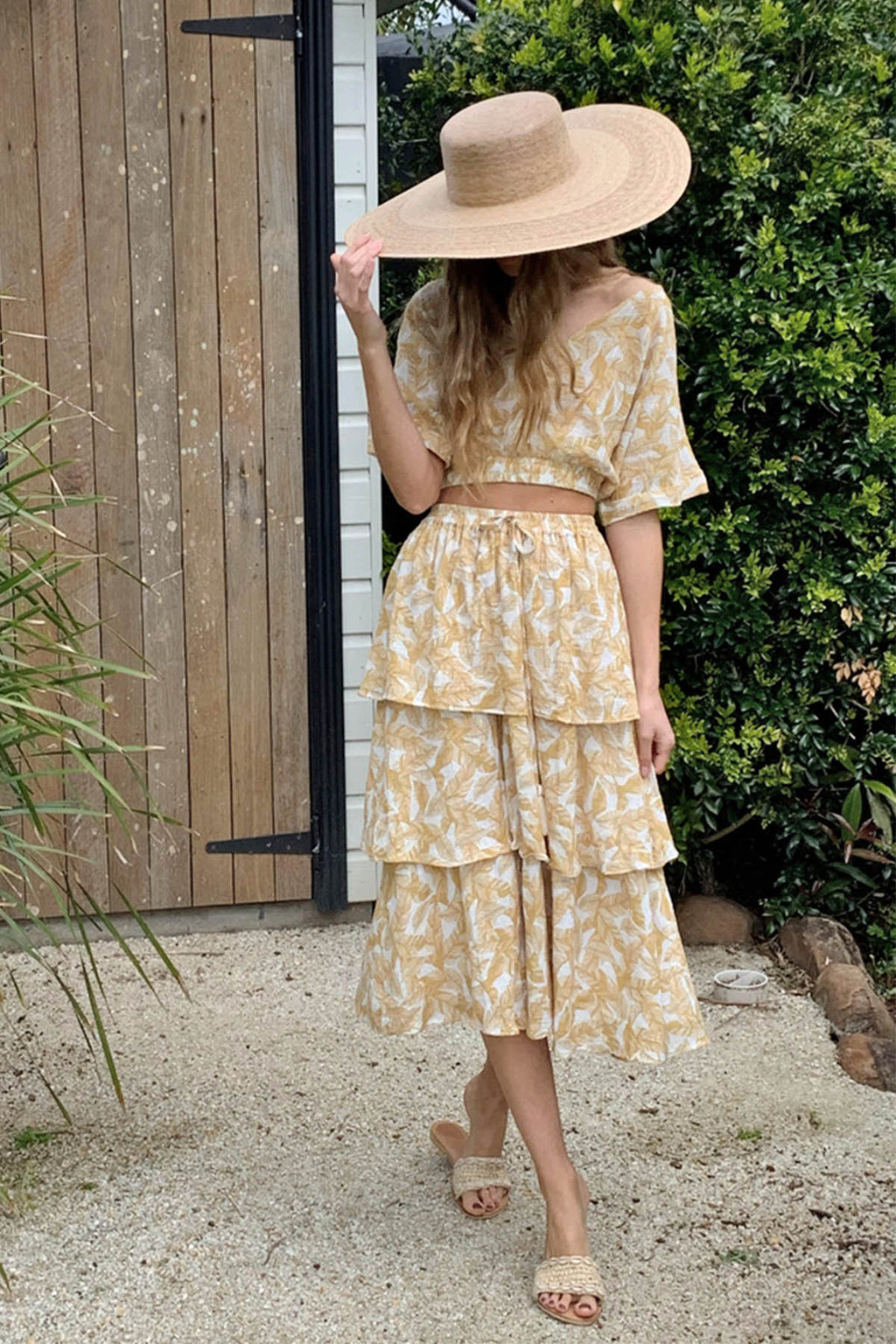 Wandering Layered Skirt - Beige Leaf - The Bohemian Corner