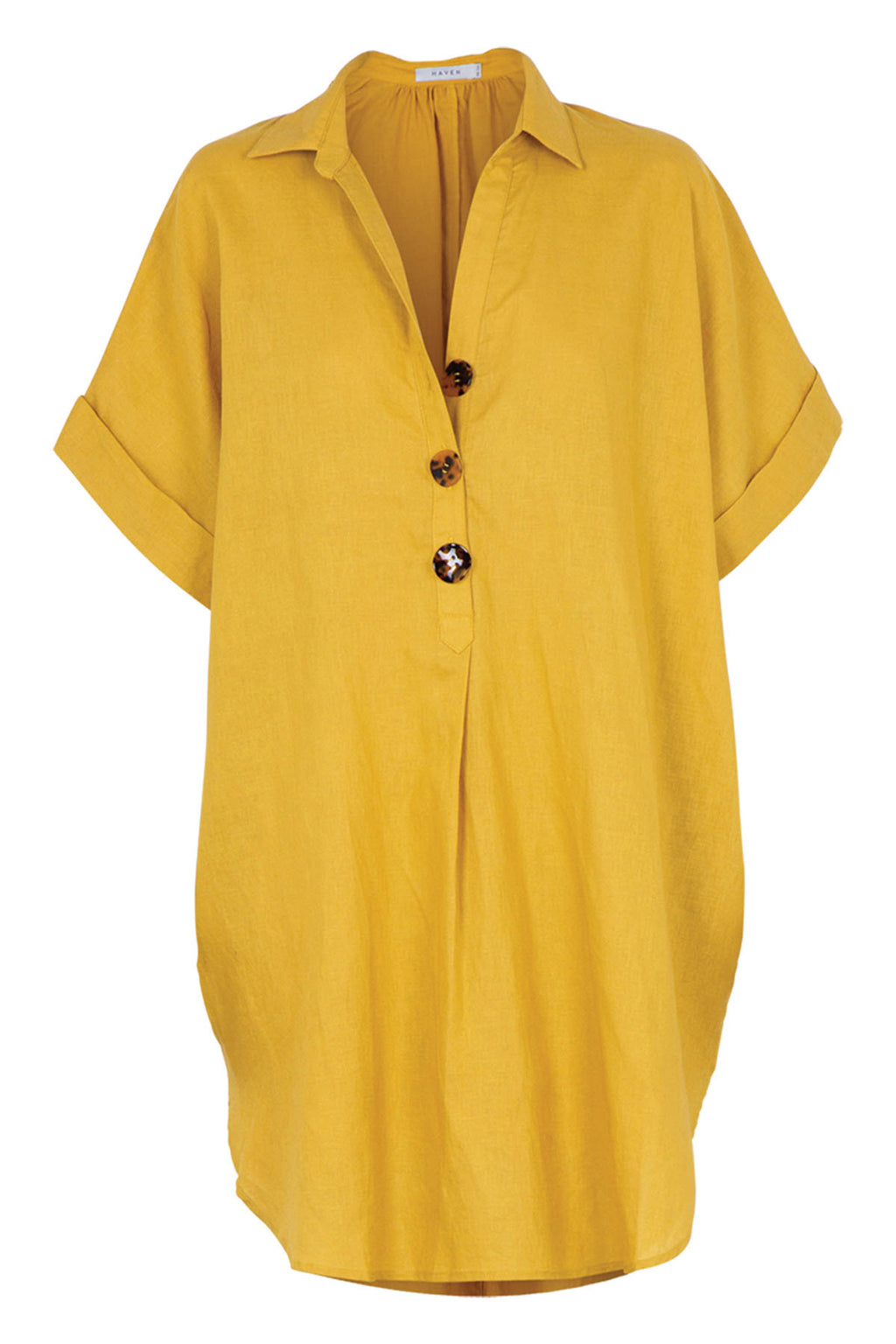 Puglia Shirt Dress - Saffron - The Bohemian Corner