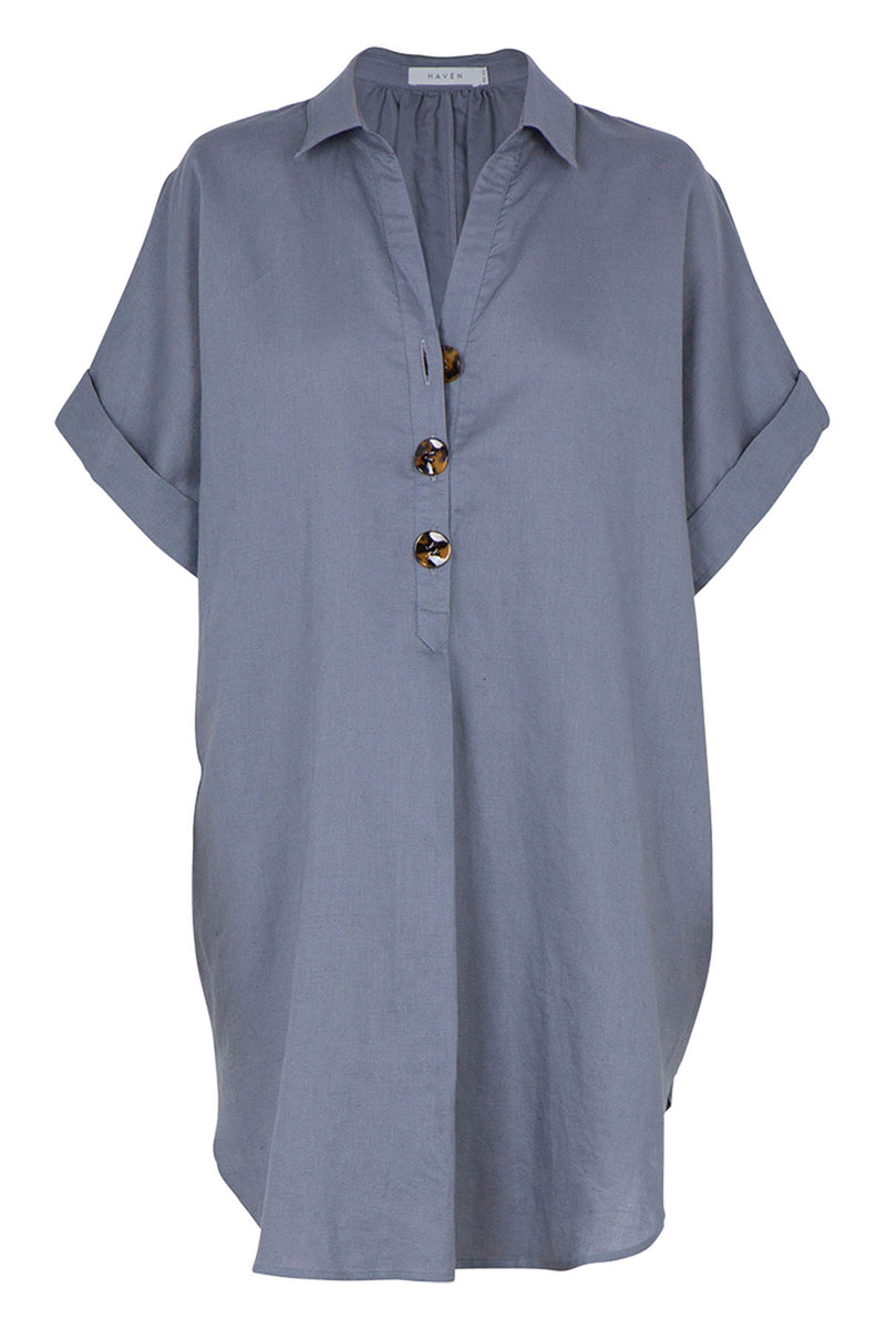 Puglia Shirt Dress - Shale - The Bohemian Corner