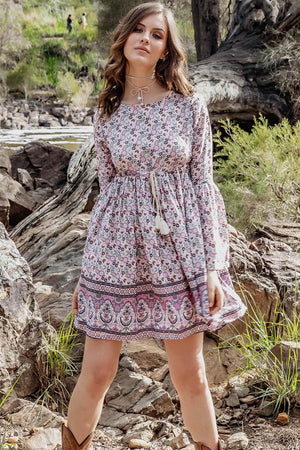 Belle Mini Dress - Iris - The Bohemian Corner