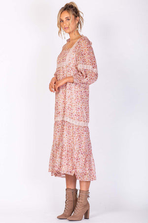 Hollywood Sunset Midi Dress - Pink Floral - The Bohemian Corner